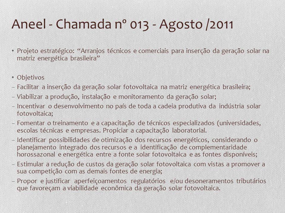 Aneel - Chamada nº 013 - Agosto /2011