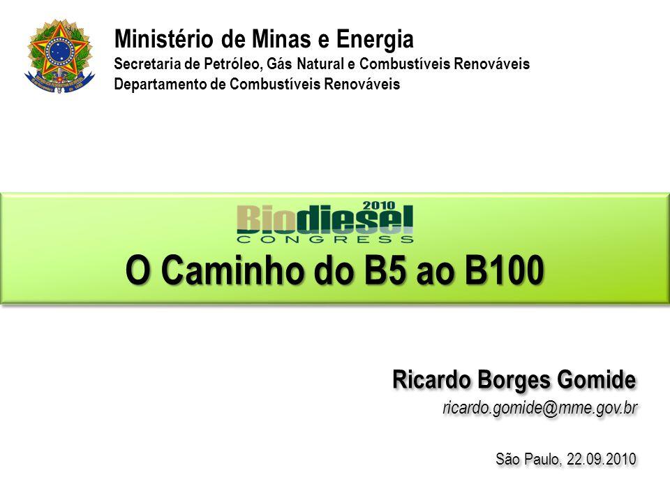 O Caminho do B5 ao B100 Ministério de Minas e Energia