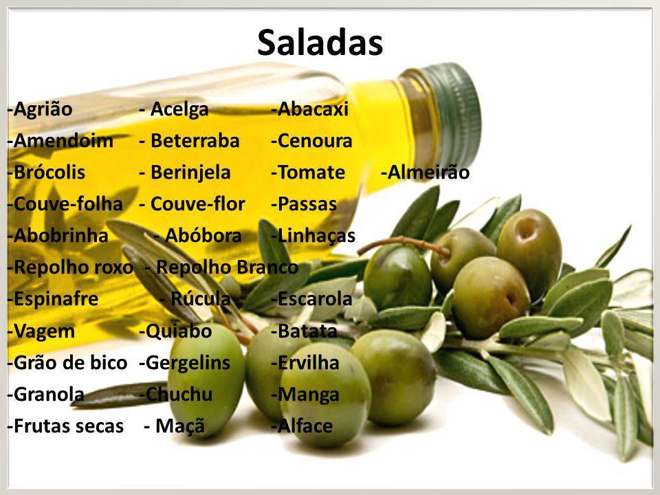 Saladas -Agrião - Acelga -Abacaxi -Amendoim - Beterraba -Cenoura
