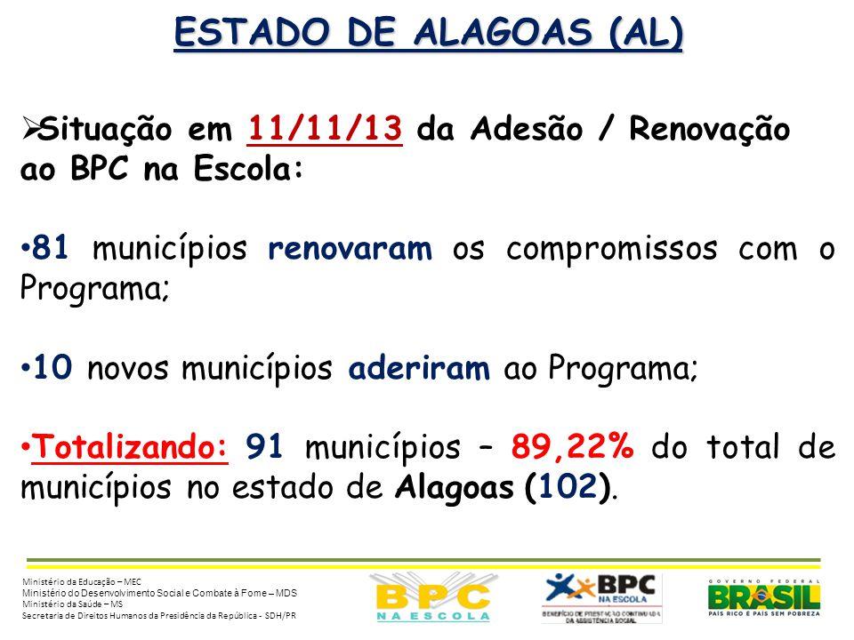 ESTADO DE ALAGOAS (AL) Situação em 11/11/13 da Adesão / Renovação ao BPC na Escola: 81 municípios renovaram os compromissos com o Programa;