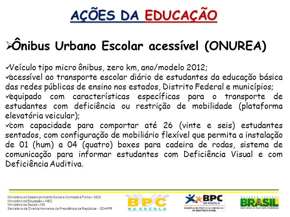 AÇÕES DA EDUCAÇÃO Ônibus Urbano Escolar acessível (ONUREA)