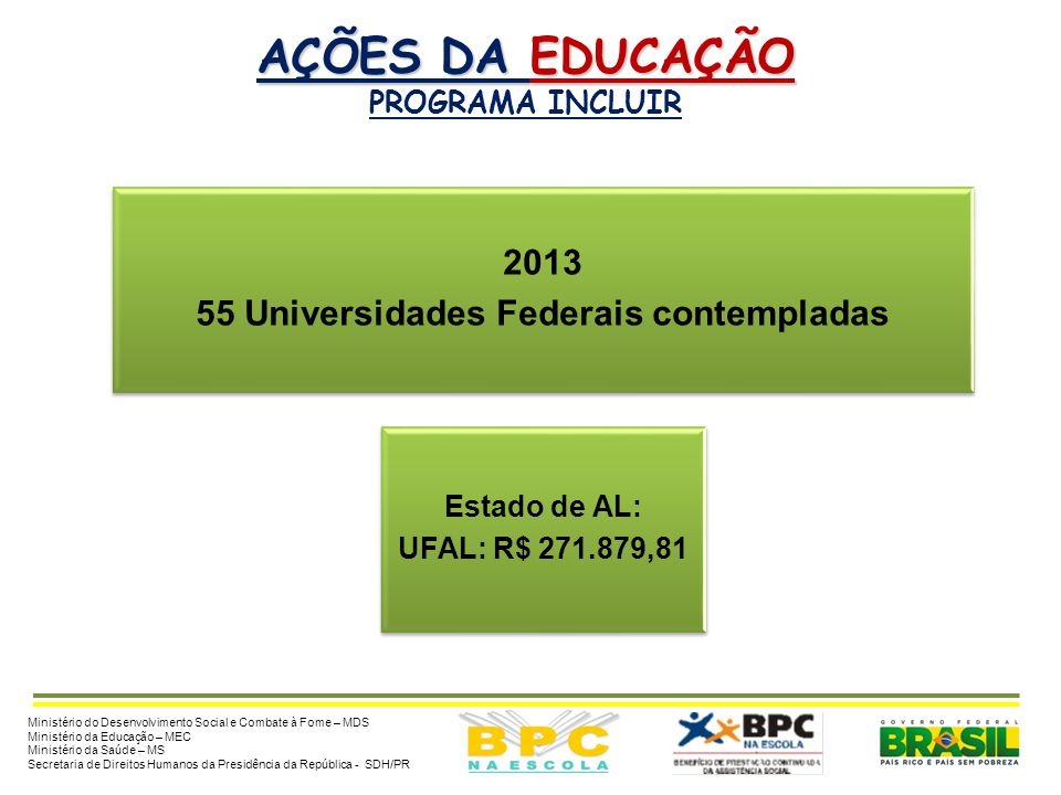 55 Universidades Federais contempladas