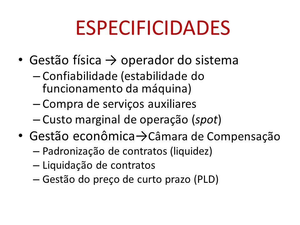 ESPECIFICIDADES Gestão física → operador do sistema