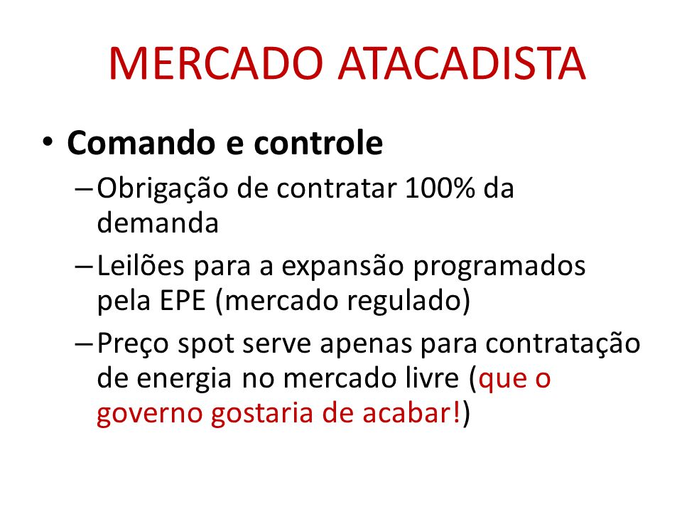 MERCADO ATACADISTA Comando e controle