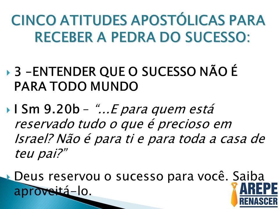 CINCO ATITUDES APOSTÓLICAS PARA RECEBER A PEDRA DO SUCESSO: