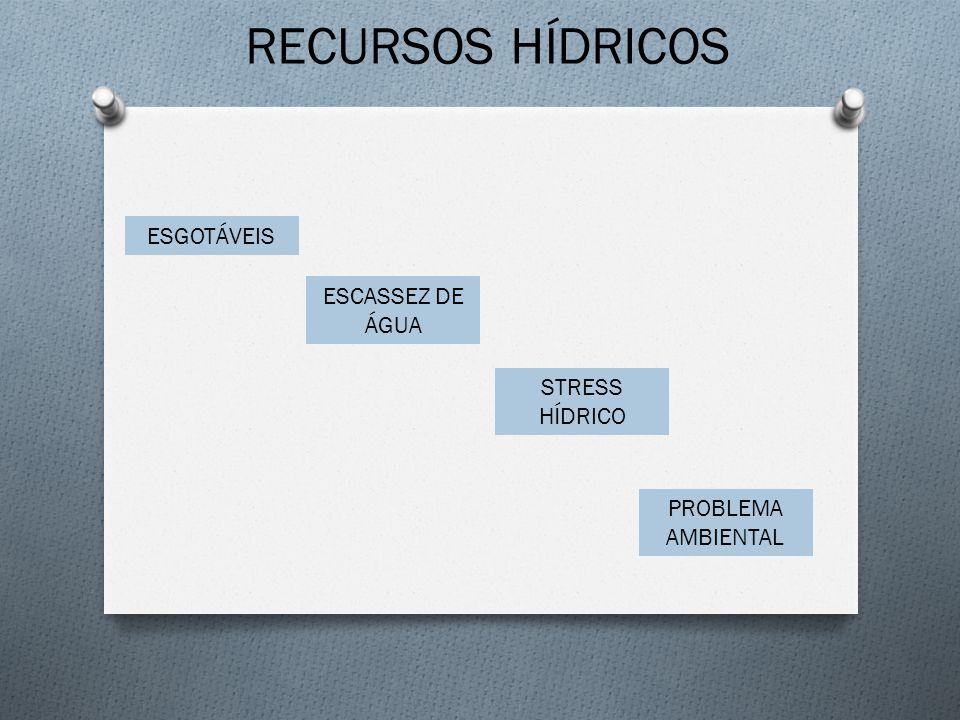 RECURSOS HÍDRICOS ESGOTÁVEIS ESCASSEZ DE ÁGUA STRESS HÍDRICO