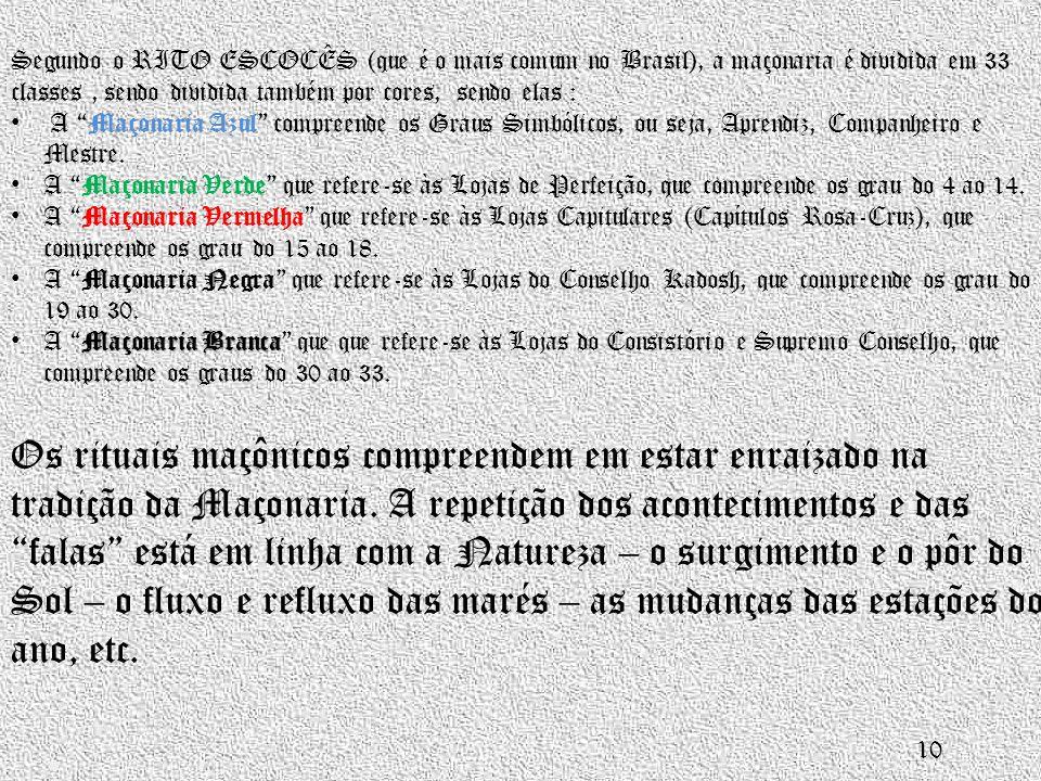 Segundo o RITO ESCOCÊS (que é o mais comum no Brasil), a maçonaria é dividida em 33 classes , sendo dividida também por cores, sendo elas :
