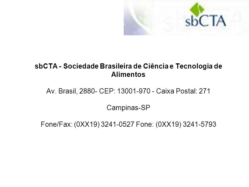 sbCTA - Sociedade Brasileira de Ciência e Tecnologia de Alimentos Av