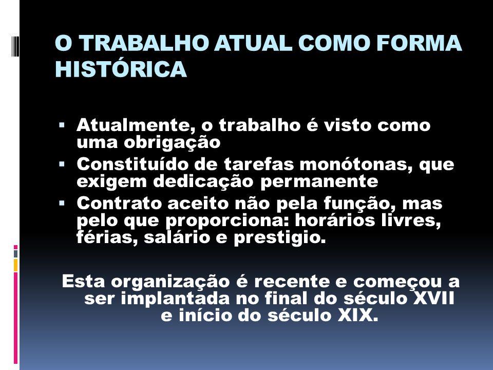 O TRABALHO ATUAL COMO FORMA HISTÓRICA