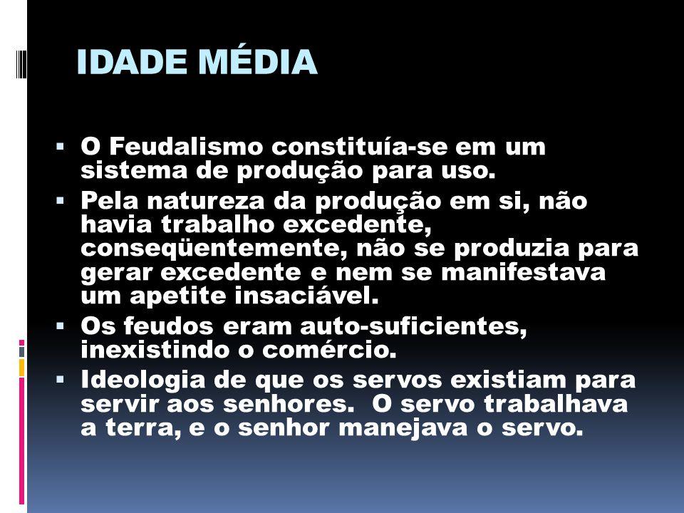 IDADE MÉDIA O Feudalismo constituía-se em um sistema de produção para uso.
