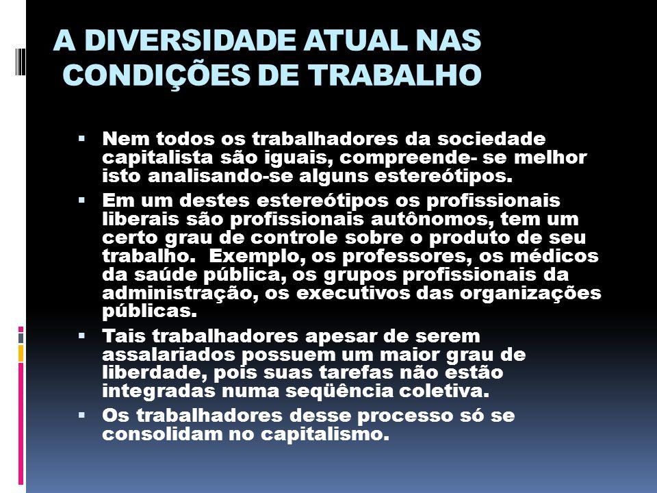 A DIVERSIDADE ATUAL NAS CONDIÇÕES DE TRABALHO