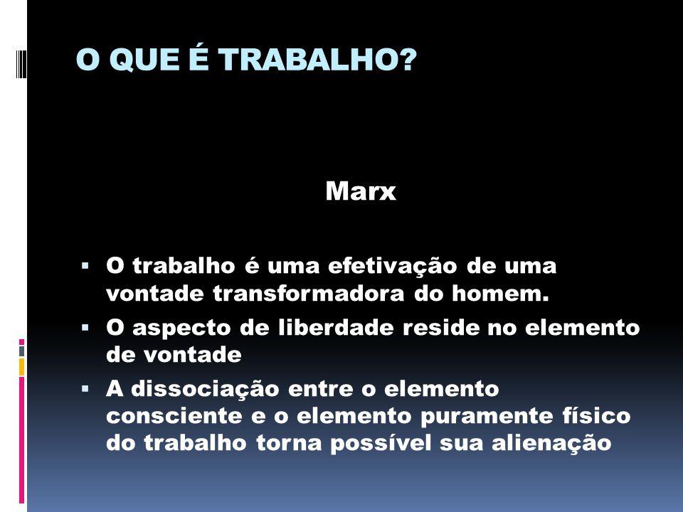 O QUE É TRABALHO Marx. O trabalho é uma efetivação de uma vontade transformadora do homem. O aspecto de liberdade reside no elemento de vontade.
