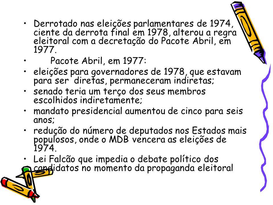 Derrotado nas eleições parlamentares de 1974, ciente da derrota final em 1978, alterou a regra eleitoral com a decretação do Pacote Abril, em 1977.