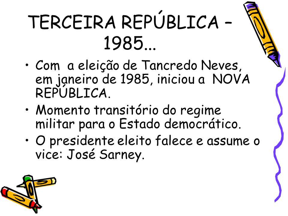 TERCEIRA REPÚBLICA – 1985... Com a eleição de Tancredo Neves, em janeiro de 1985, iniciou a NOVA REPÚBLICA.