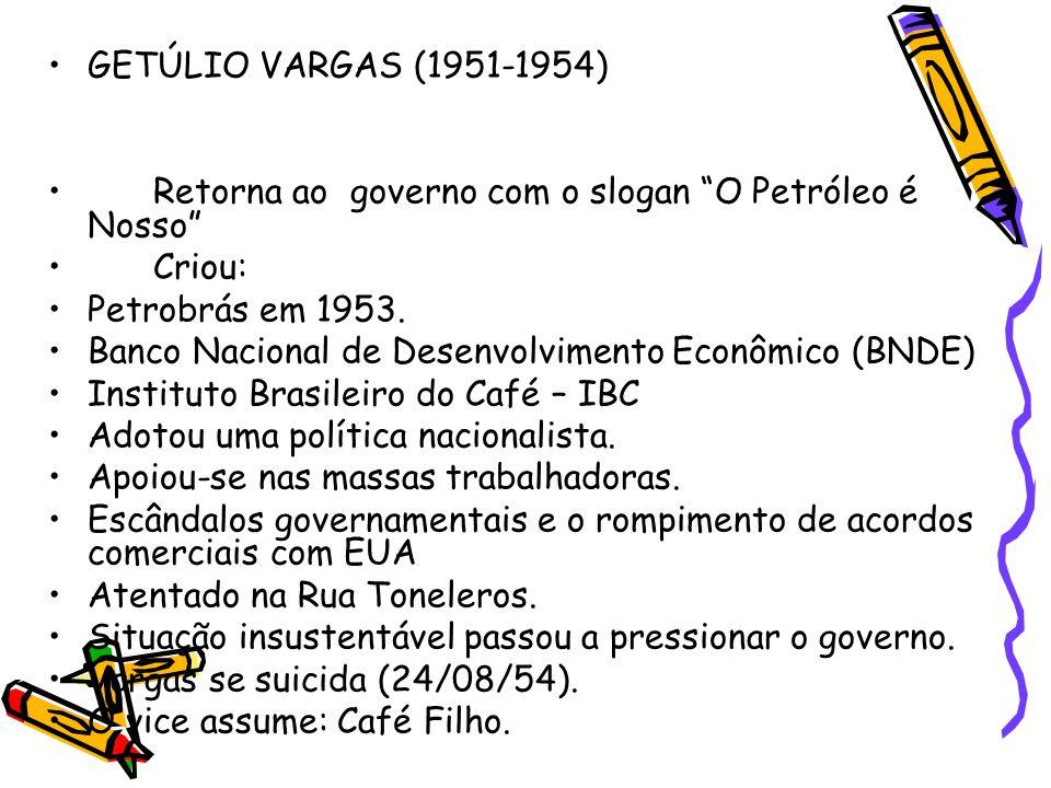 GETÚLIO VARGAS (1951-1954) Retorna ao governo com o slogan O Petróleo é Nosso Criou: Petrobrás em 1953.