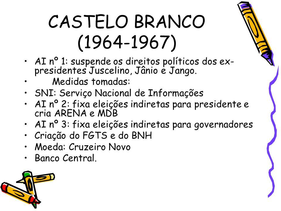 CASTELO BRANCO (1964-1967) AI nº 1: suspende os direitos políticos dos ex-presidentes Juscelino, Jânio e Jango.