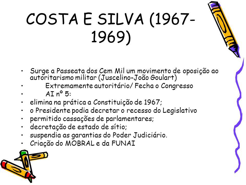 COSTA E SILVA (1967-1969) Surge a Passeata dos Cem Mil um movimento de oposição ao autoritarismo militar (Juscelino-João Goulart)