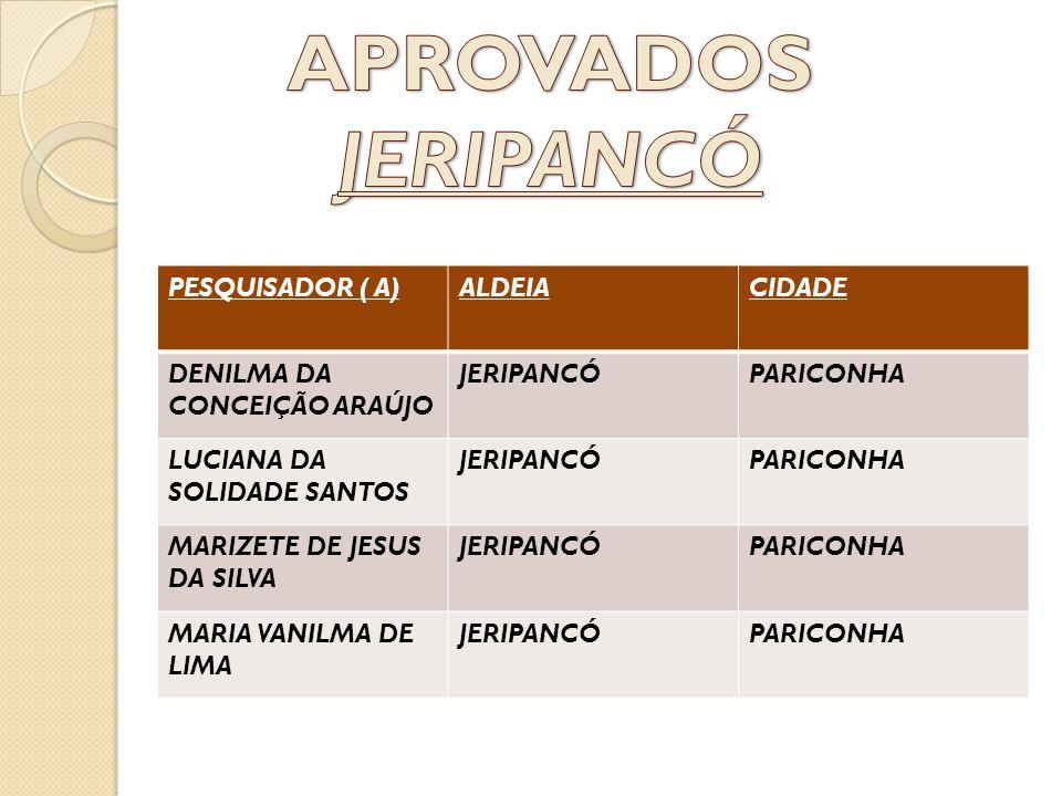 APROVADOS JERIPANCÓ PESQUISADOR ( A) ALDEIA CIDADE