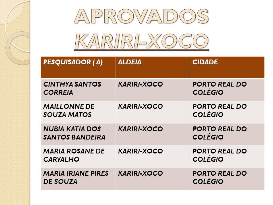 APROVADOS KARIRI-XOCO