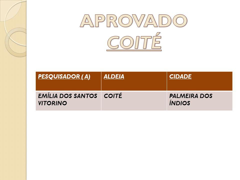 APROVADO COITÉ PESQUISADOR ( A) ALDEIA CIDADE