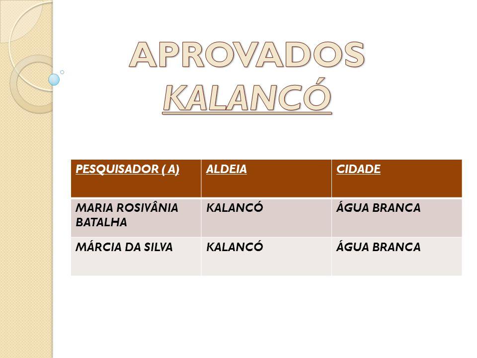 APROVADOS KALANCÓ PESQUISADOR ( A) ALDEIA CIDADE
