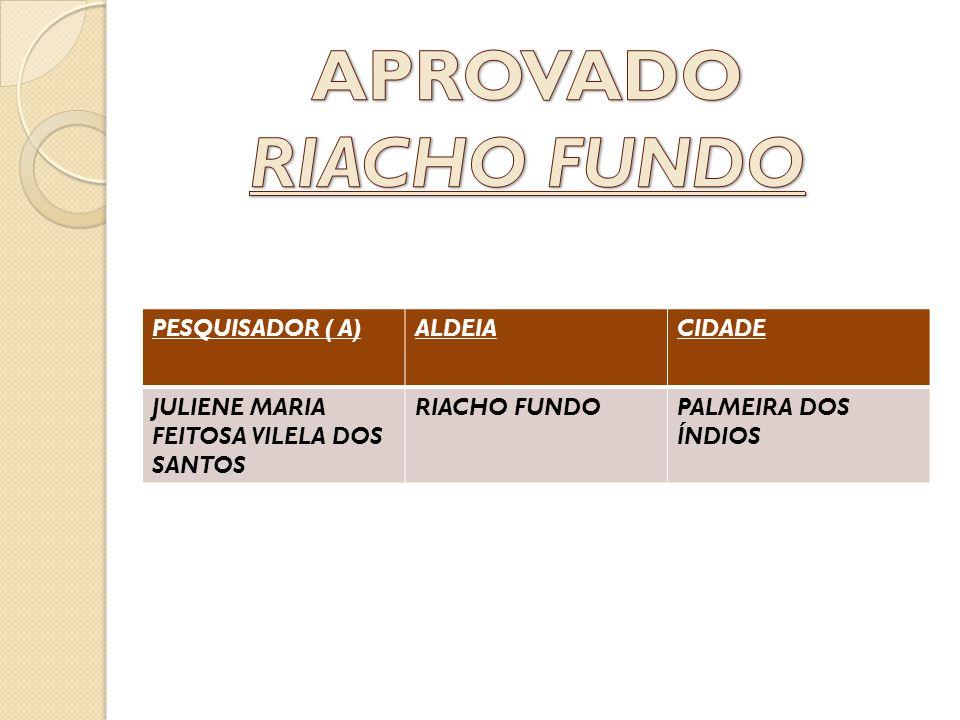 APROVADO RIACHO FUNDO PESQUISADOR ( A) ALDEIA CIDADE