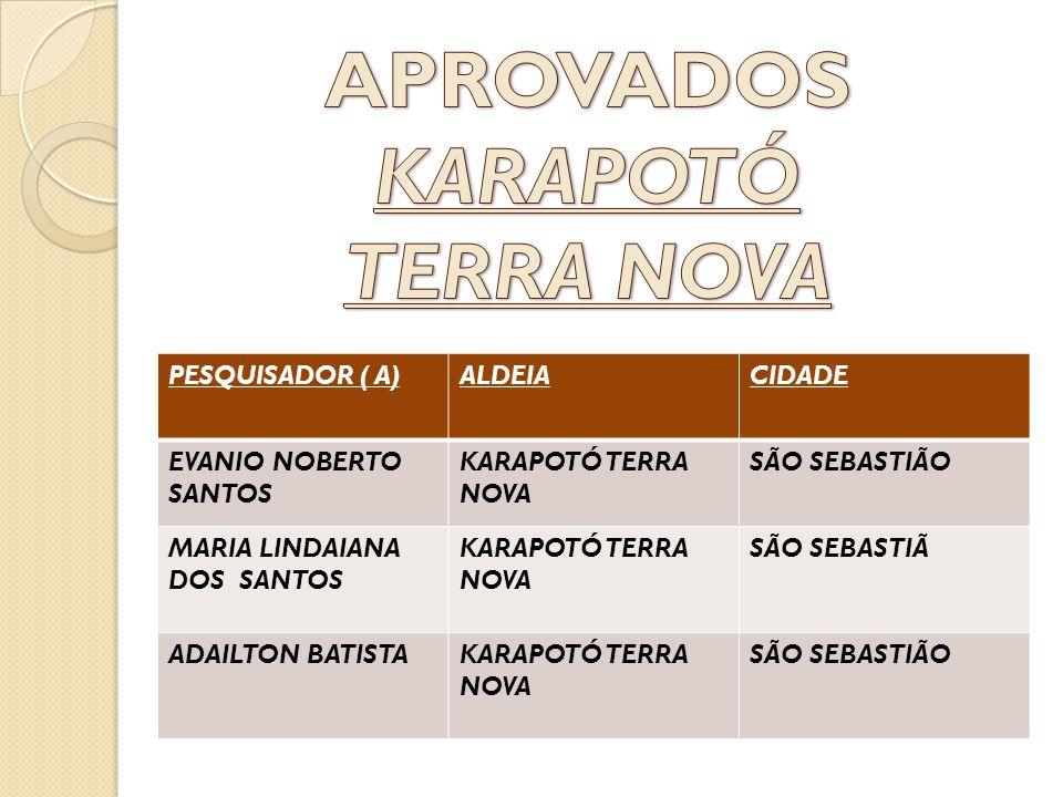 APROVADOS KARAPOTÓ TERRA NOVA
