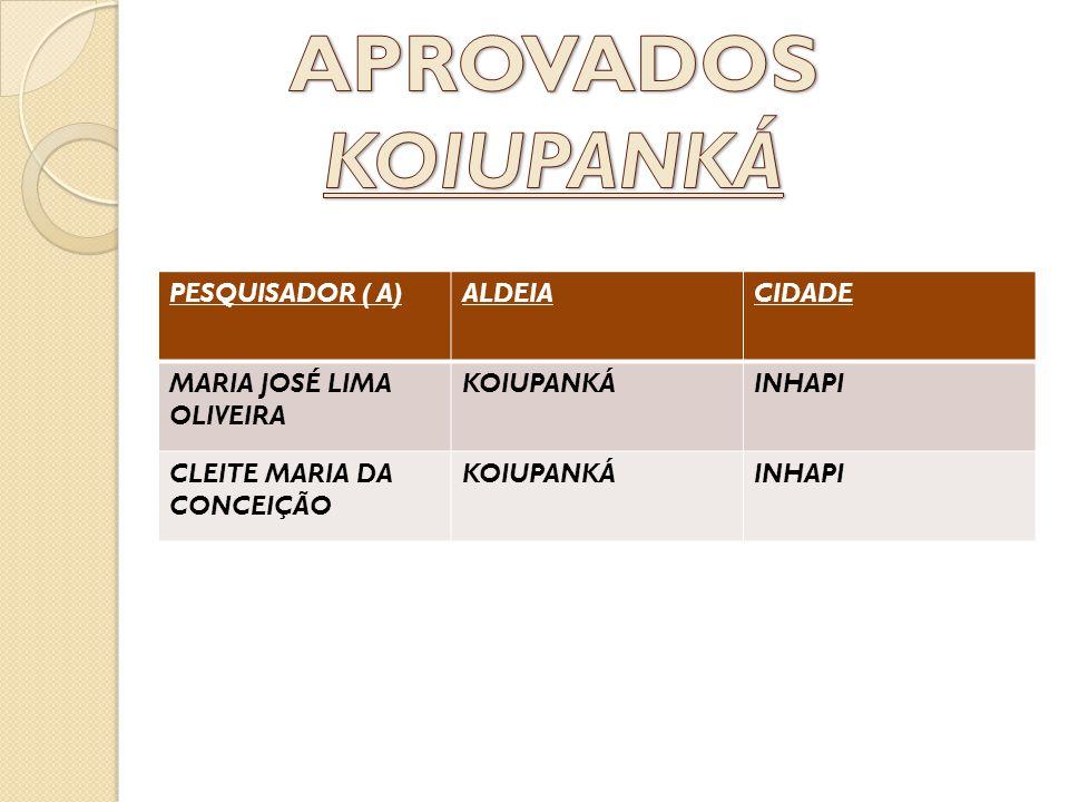 APROVADOS KOIUPANKÁ PESQUISADOR ( A) ALDEIA CIDADE