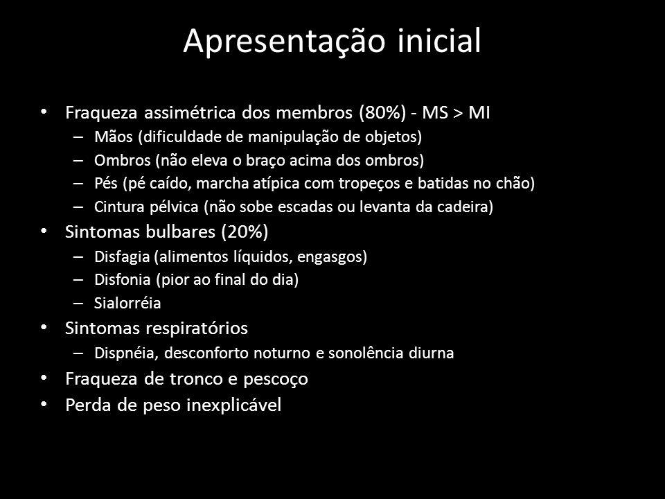 Apresentação inicial Fraqueza assimétrica dos membros (80%) - MS > MI. Mãos (dificuldade de manipulação de objetos)
