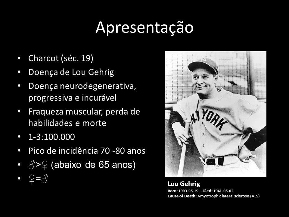 Apresentação Charcot (séc. 19) Doença de Lou Gehrig