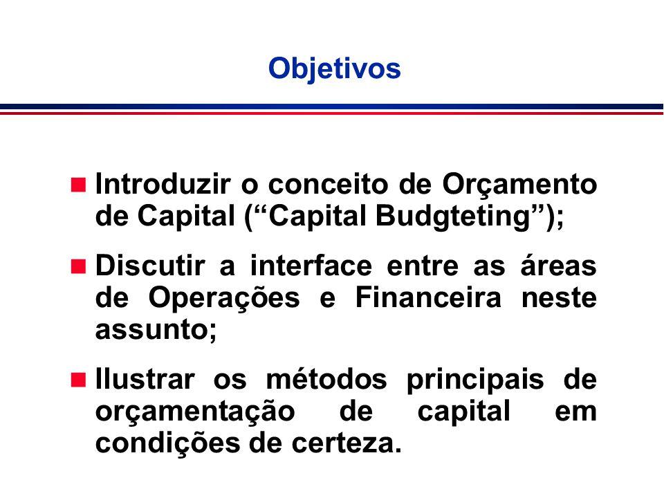Objetivos Introduzir o conceito de Orçamento de Capital ( Capital Budgteting );