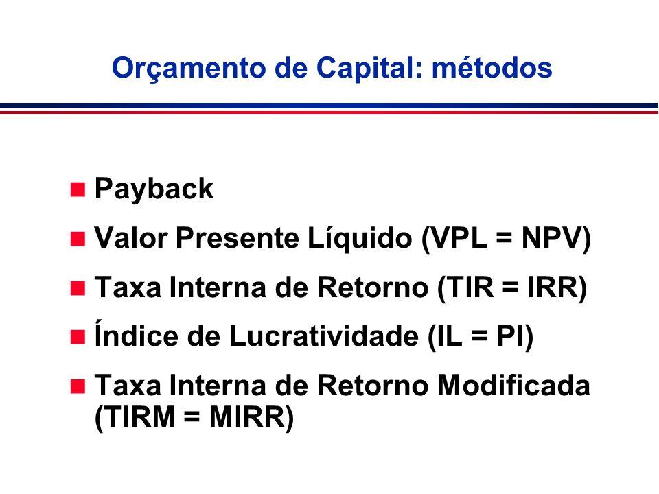 Orçamento de Capital: métodos