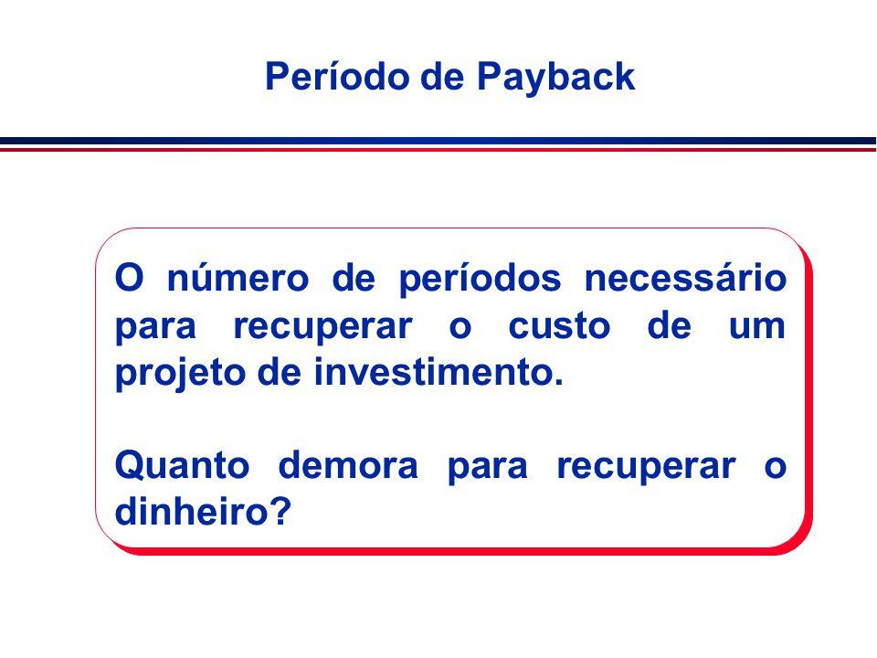Período de Payback O número de períodos necessário para recuperar o custo de um projeto de investimento.
