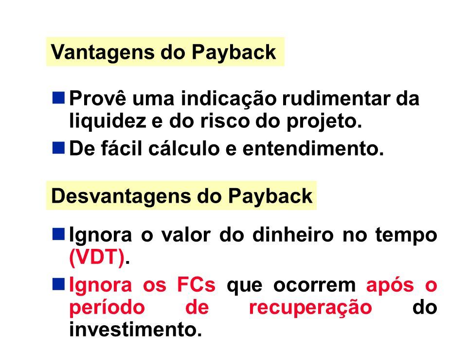 Vantagens do Payback Provê uma indicação rudimentar da liquidez e do risco do projeto. De fácil cálculo e entendimento.