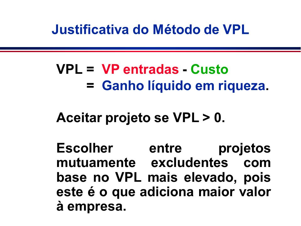 Justificativa do Método de VPL