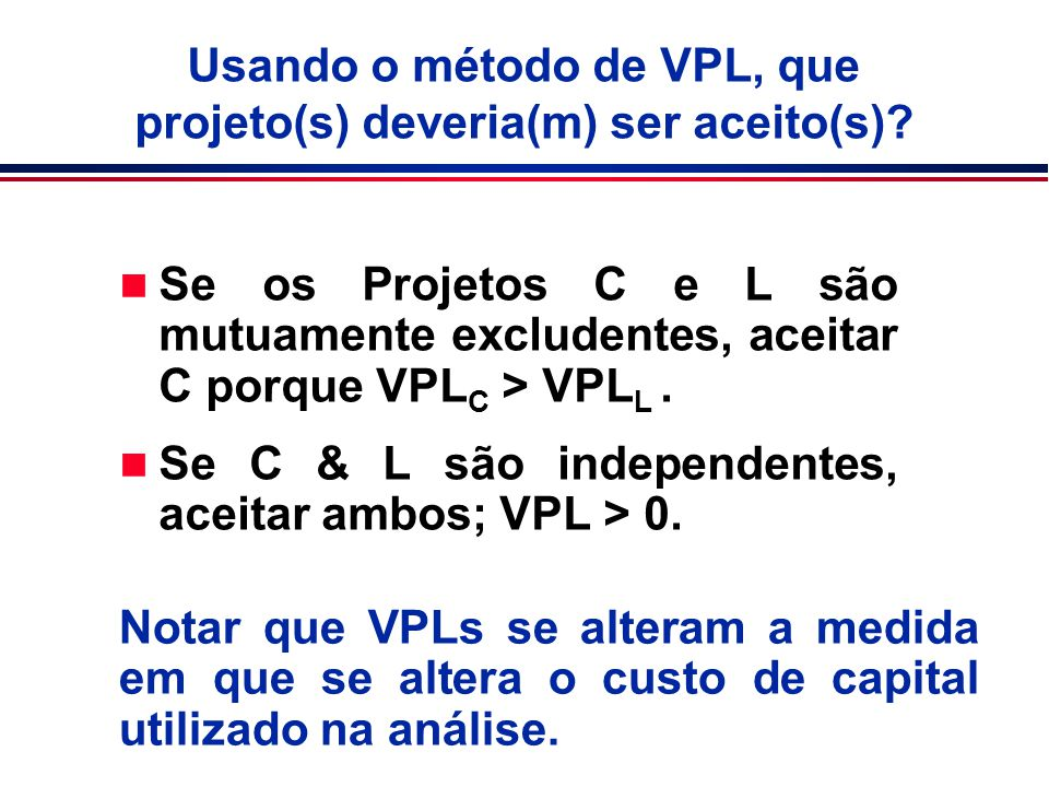 Usando o método de VPL, que projeto(s) deveria(m) ser aceito(s)