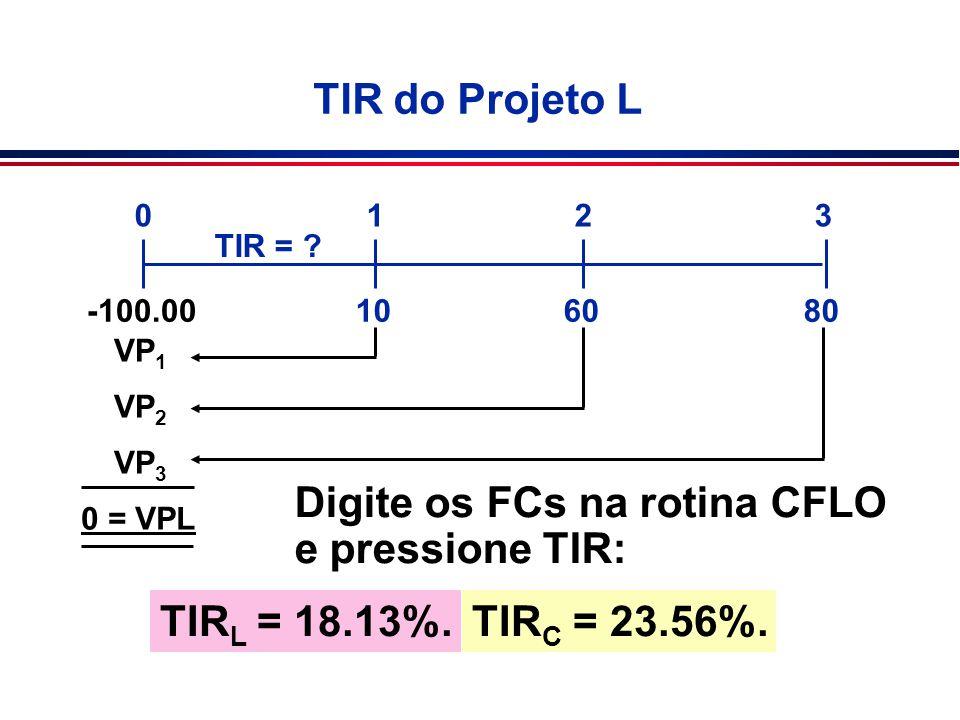 Digite os FCs na rotina CFLO e pressione TIR: