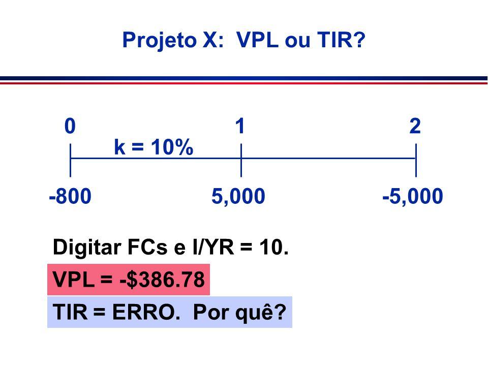 Projeto X: VPL ou TIR 1. 2. k = 10% -800. 5,000. -5,000. Digitar FCs e I/YR = 10. VPL = -$386.78.