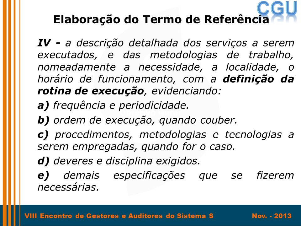 Elaboração do Termo de Referência