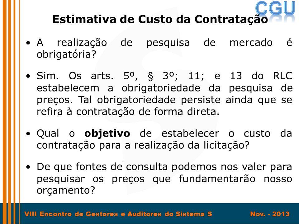 Estimativa de Custo da Contratação