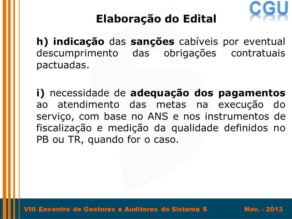 Elaboração do Edital h) indicação das sanções cabíveis por eventual descumprimento das obrigações contratuais pactuadas.
