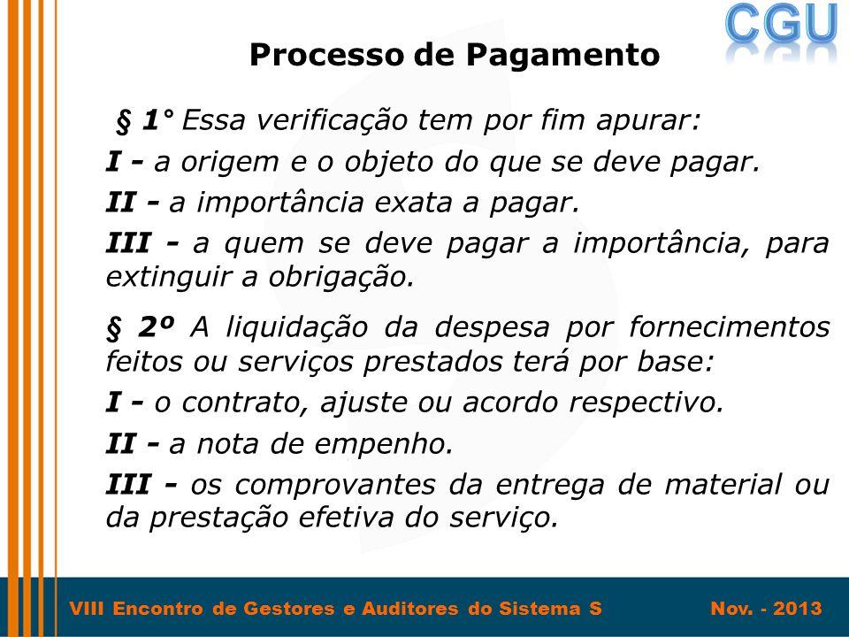 Processo de Pagamento § 1° Essa verificação tem por fim apurar: