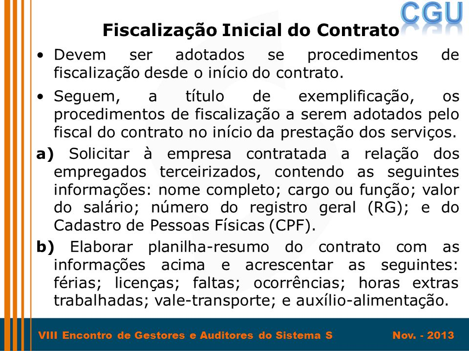Fiscalização Inicial do Contrato