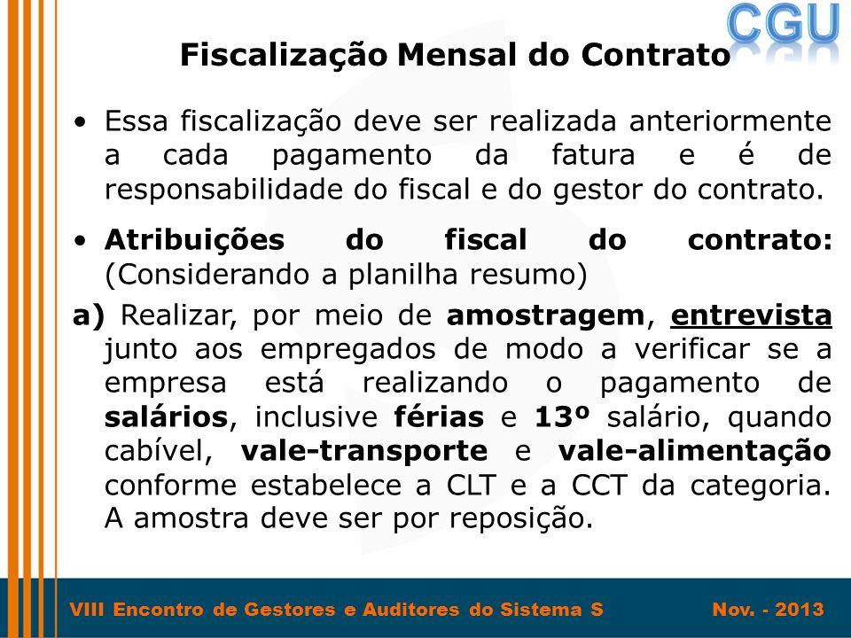 Fiscalização Mensal do Contrato