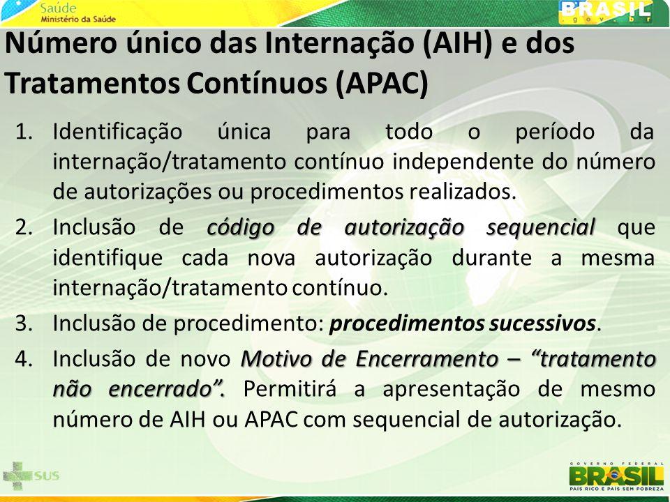 Número único das Internação (AIH) e dos Tratamentos Contínuos (APAC)