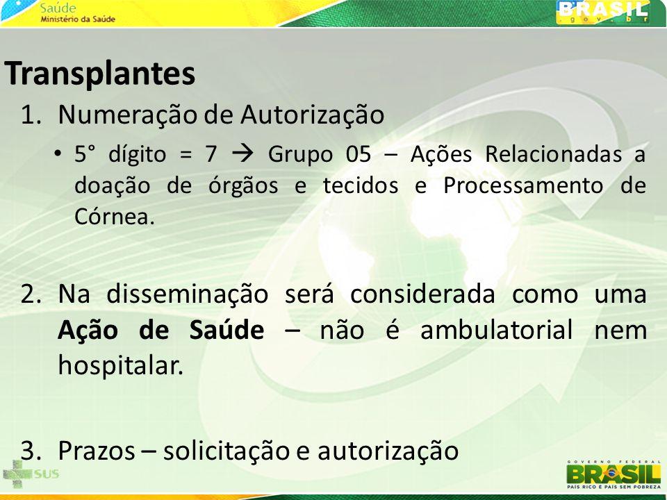 Transplantes Numeração de Autorização