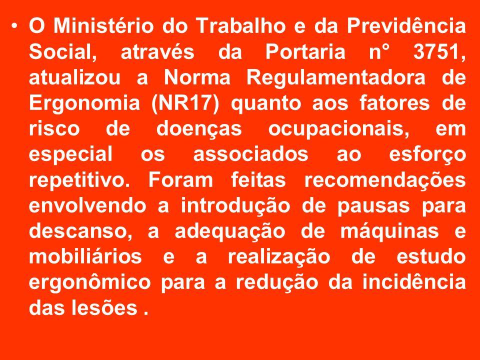 O Ministério do Trabalho e da Previdência Social, através da Portaria n° 3751, atualizou a Norma Regulamentadora de Ergonomia (NR17) quanto aos fatores de risco de doenças ocupacionais, em especial os associados ao esforço repetitivo.