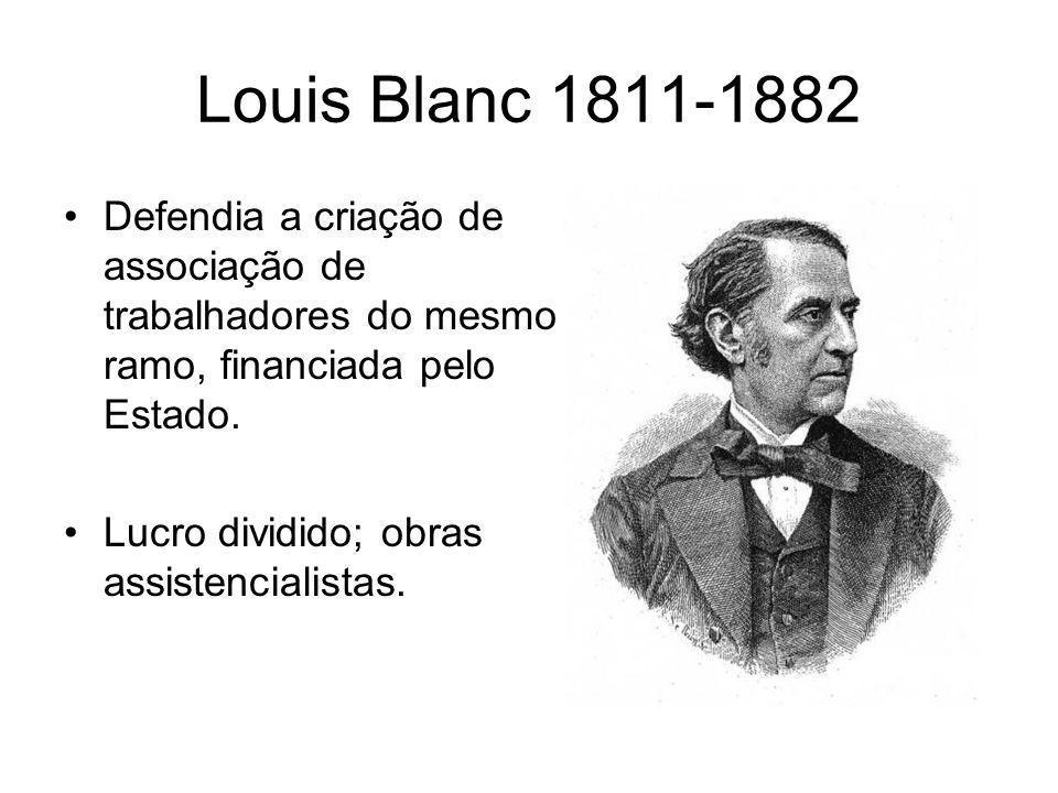 Louis Blanc 1811-1882 Defendia a criação de associação de trabalhadores do mesmo ramo, financiada pelo Estado.
