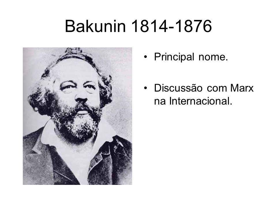 Bakunin 1814-1876 Principal nome. Discussão com Marx na Internacional.