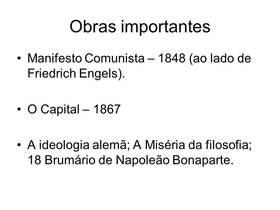 Obras importantes Manifesto Comunista – 1848 (ao lado de Friedrich Engels). O Capital – 1867.